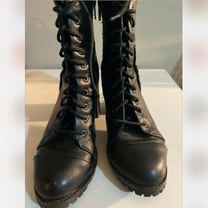 Leather Laced High Ankle Boots Military Booties